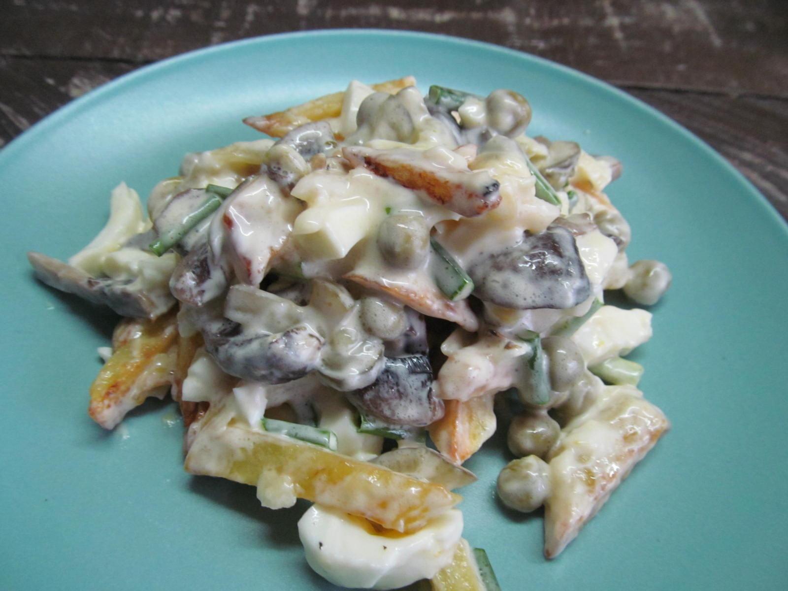 Салат с шампиньонами простой рецепт пошагово