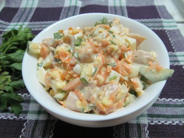 Рецепты салатов с копченой курицей фото пошагово